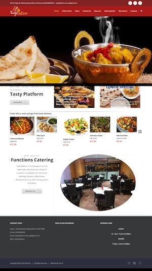 tasty platform indian restaurant website design by hari karki creations