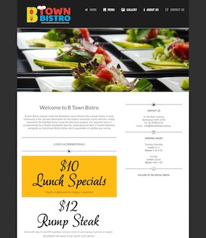 btown bistro website designed by hari karki creations sydney